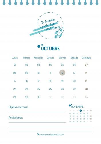 CALENDARIO 2018 OCTUBRE