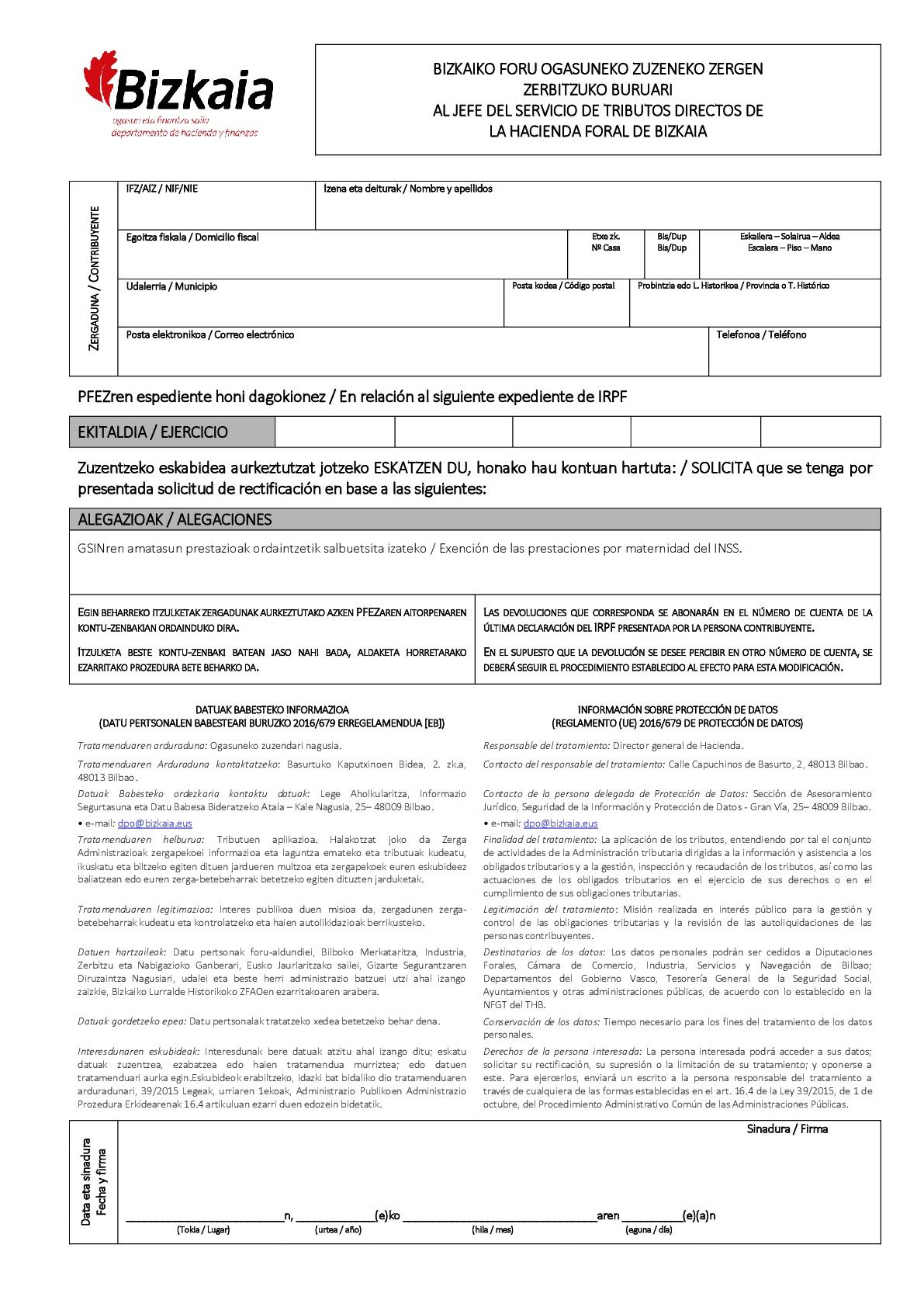 DEVOLUCIÓN de la RETENCIÓN de MATERNIDAD - modelo Bizkaia